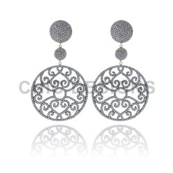 Filigree Diamond Dangle Earrings
