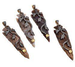Pave CZ Set Agate Arrowhead Pendant