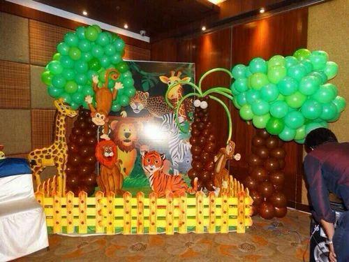 Birthday Jungle Theme Balloon Decoration Service Area Size 5000 Aquare Feet