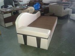 Brown and White Designer Leather Sofa