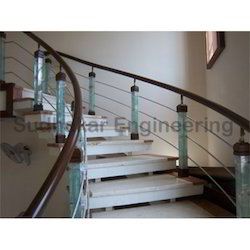 Home Elevation Handrail Modern Wooden Staircase