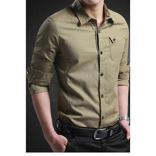 caaf3e0aa987 Men Plain Casual Shirt