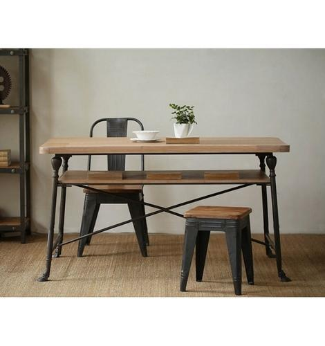 Industrial Furniture Wrought Iron Wood Dining Table