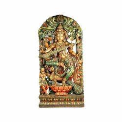 Wooden Saraswathi VU Statue