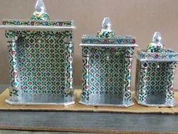 Silver 6*5 8*5 10*5 Aluminium Meenakari Small Temple