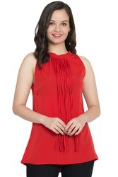 polyester Plain Red trendy top with fringes on neck