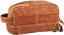 Hayst Brown and Grey Leather Toilet Bag