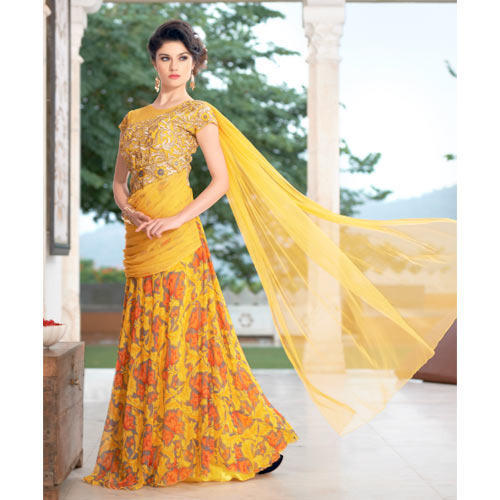 897e2afb54 Yellow Party Wear Ladies Long Suits, Rs 2075 /piece(s), Shri ...