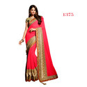 Indian Chiffon Red Ethnic Sarees