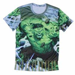 Half Sleeve Cotton Mens Printed Round Neck T Shirt