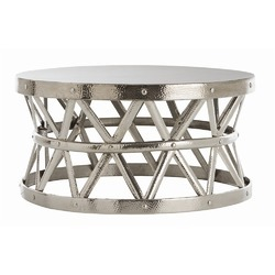 Horizon Hammered Drum Cross Silver Coffee Table