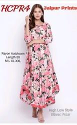 Printed Rayon Full Length Kurta