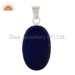 Oval Shape Lapis Lazuli Gemstone Sterling Silver Pendant