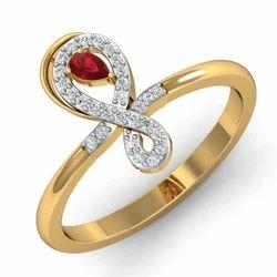 Maroon Stone Gold Diamonds Ring