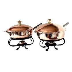 Copper Hammered Frypan Style Round Chafers