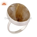 Golden Rutile Gemstone 925 Silver Ring
