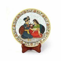White Akbar Jodha Marble Painting Plate 398