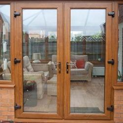 Brown Wood French Patio Doors, For Home,Office