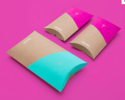 Multicolor Recycled Kraft Paper Custom Printed Pillow Boxes
