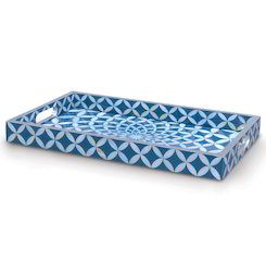 Bone Inlay Shell Blue Coastal Mosaic Serving Tray