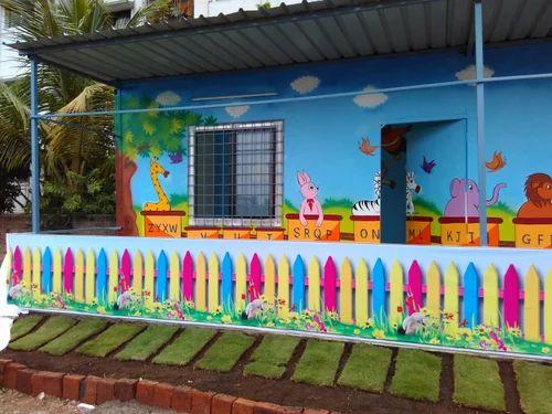 School Wall Painting School Wall Cartoon Painting