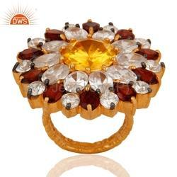 Flower Design CZ Gemstone Rings