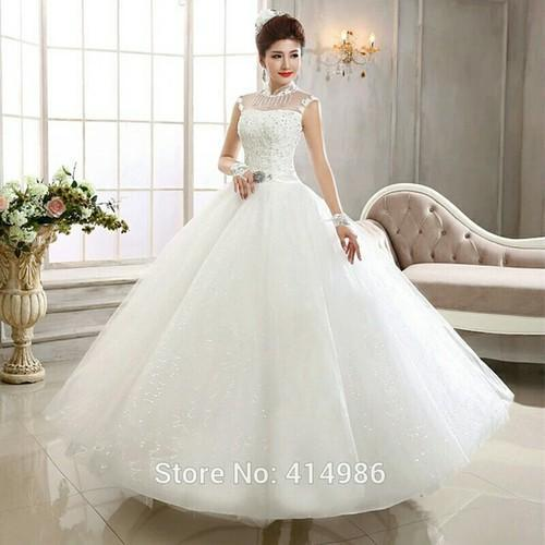 White Wedding Dress Under 500: White Ivory Christian High Neck White Wedding Gown, Rs
