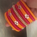Designer Maroon and Orange Silk Thread Bangle Set