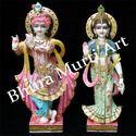Painted Marble Radha Krishna Statue