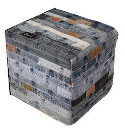 Denim Patchwork Pouf