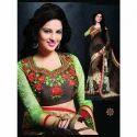 Green and Black Printed Saree