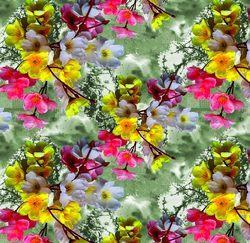Pink And Yellow Abstract Flowers Fabrics