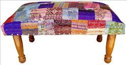 Printed Indian Silk Patola Chowki, - Foot Stool