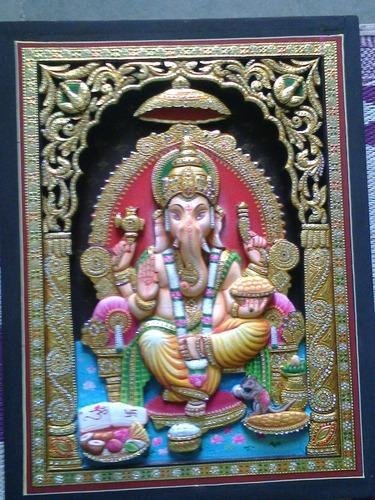 3D Ganesha Tanjore Paintings, Size: 3x4 Feet