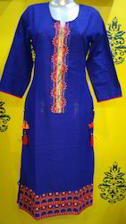 Slub Cotton Embroidered Kurti