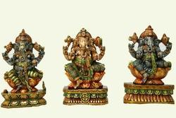 Multi Colour Wooden Ganesha Statue