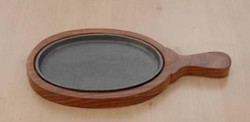 Wooden Polish Oval Sizzler Plate