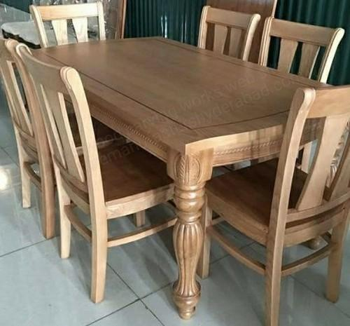 Mbk Light Carving Teak Dining Table Set