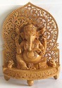 Nirmala Handicrafts Wooden Carving Ganesha Statue Indian God Idol Temple And Table Decorative