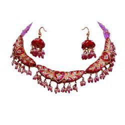 Designer Necklace Pink Jewellery Set 142