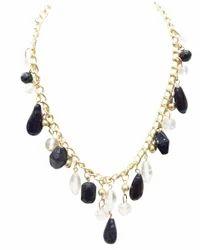 Jewelmaze Designer Pattern Black and White Party Wear Necklace