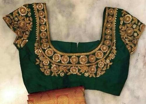 6e91809690b39f Embroidered Party Maggam Work Blouse Fabric, Rs 3000 /piece | ID ...