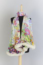 Ladies Designer Printed Shawls With Fur Trim