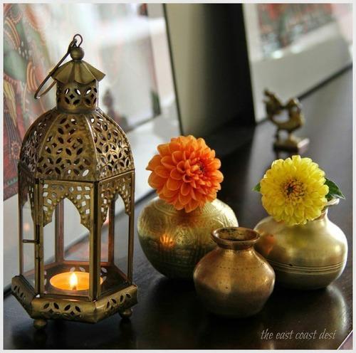 Brass Home Decor: Candle Lantern Diwali Decor & Wall Candle Diya