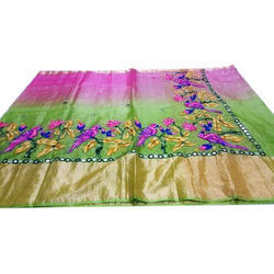 Embroidered Party Wear Designer Mirror Work Silk Saree, Saree Lenth: 6.3 m (with blouse piece)