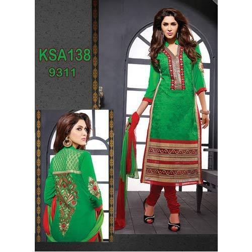 5aac3383ac Green And Red Cotton Embroidery Straight Cut Suit, सूती ...