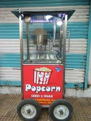 Gas Operated Mobile Pop Corn Machine Stainless Steel Body