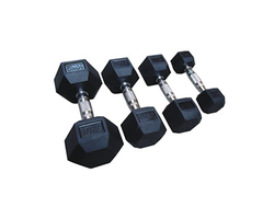 Rubber Coated Hexagon Dumbbells, weight: 1 kg to 40 kg