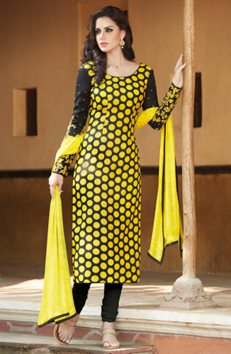 a64b48ef31 Black and Yellow Cotton Silk Unstitched Salwar Suit ...