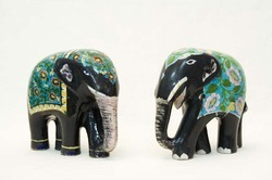 Blue Pottery Elephant Set